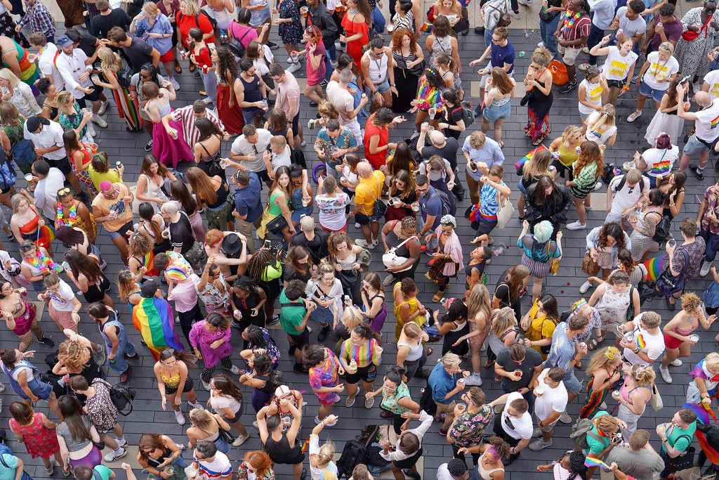 Aerial view of a crowd of people