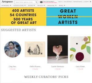 Screenshot of Artspace Website