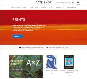 Screenshot of Tate Website