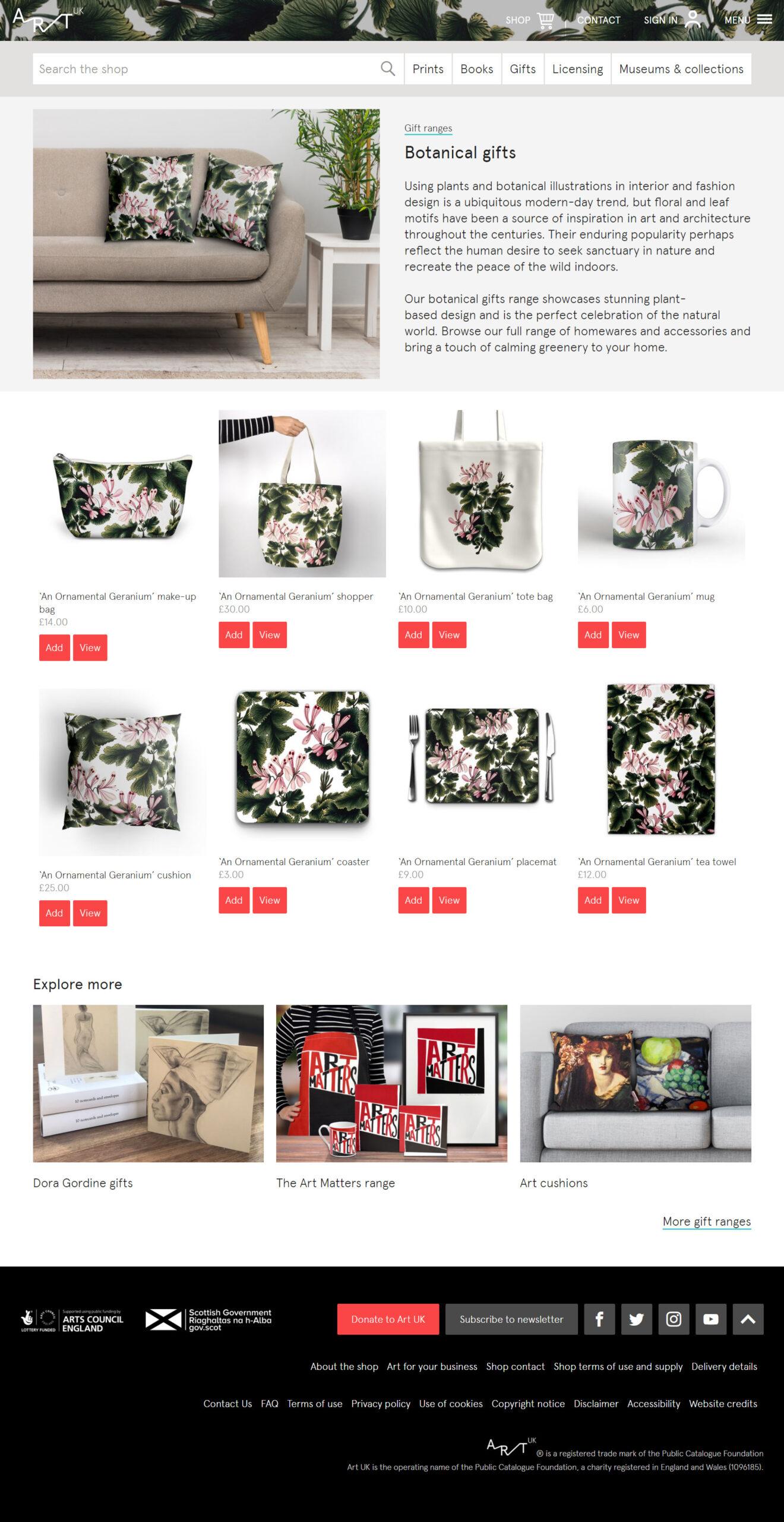 Art UK's online shop - botanical gifts collection