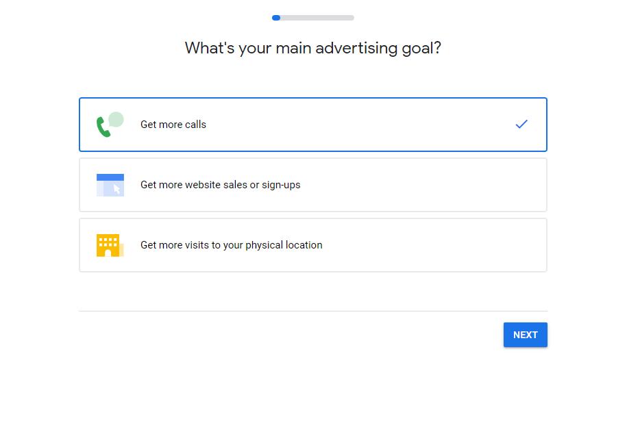 Screenshot of Choose Goal screen Google Ads