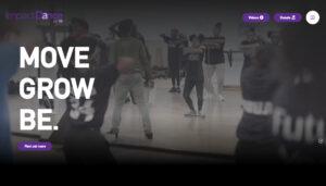 Screengrab of Impact Dance's new website homepage