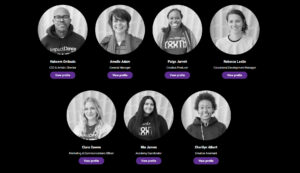Screengrab of Impact Dance's new website meet the team page