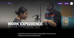 Screengrab of Impact Dance's old website work experience page