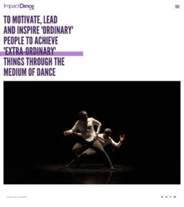 Screengrab of Impact Dance's old website homepage