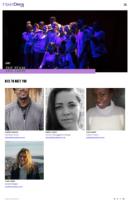 Screengrab of Impact Dance's old website meet the team page
