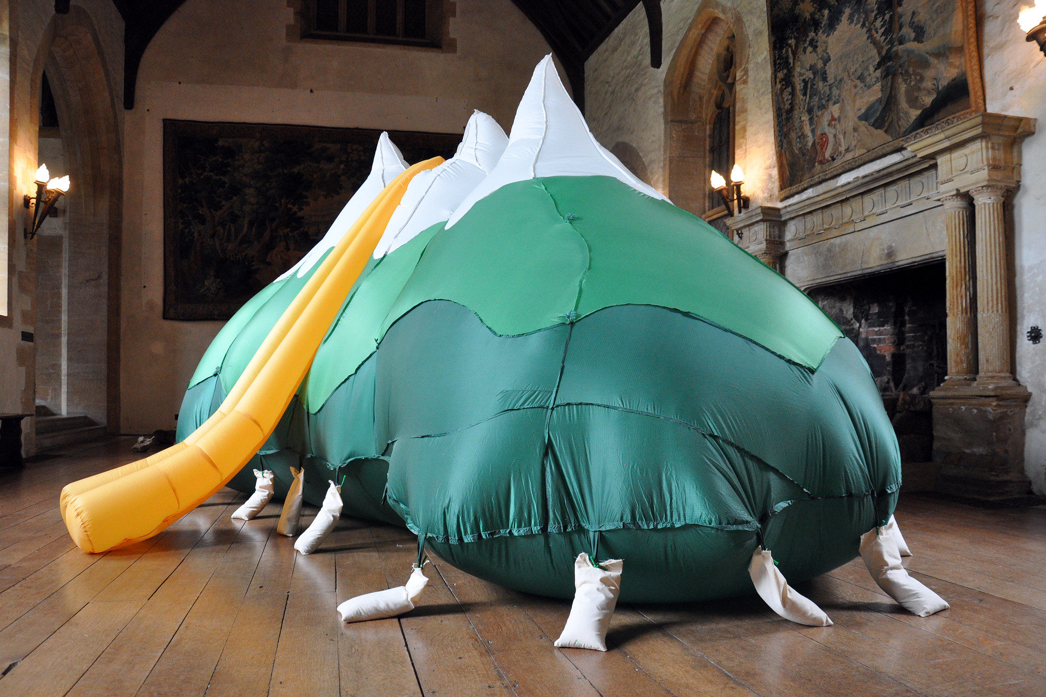 Photograph of inflatable piece of art in a gallery
