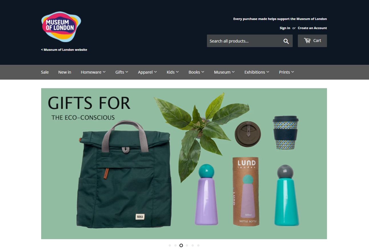 Screengrab of Museum of London's online shop