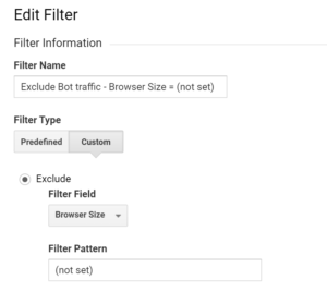 Google Analytics filter set up