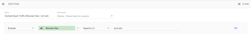 Example Google Data Studio filter settings