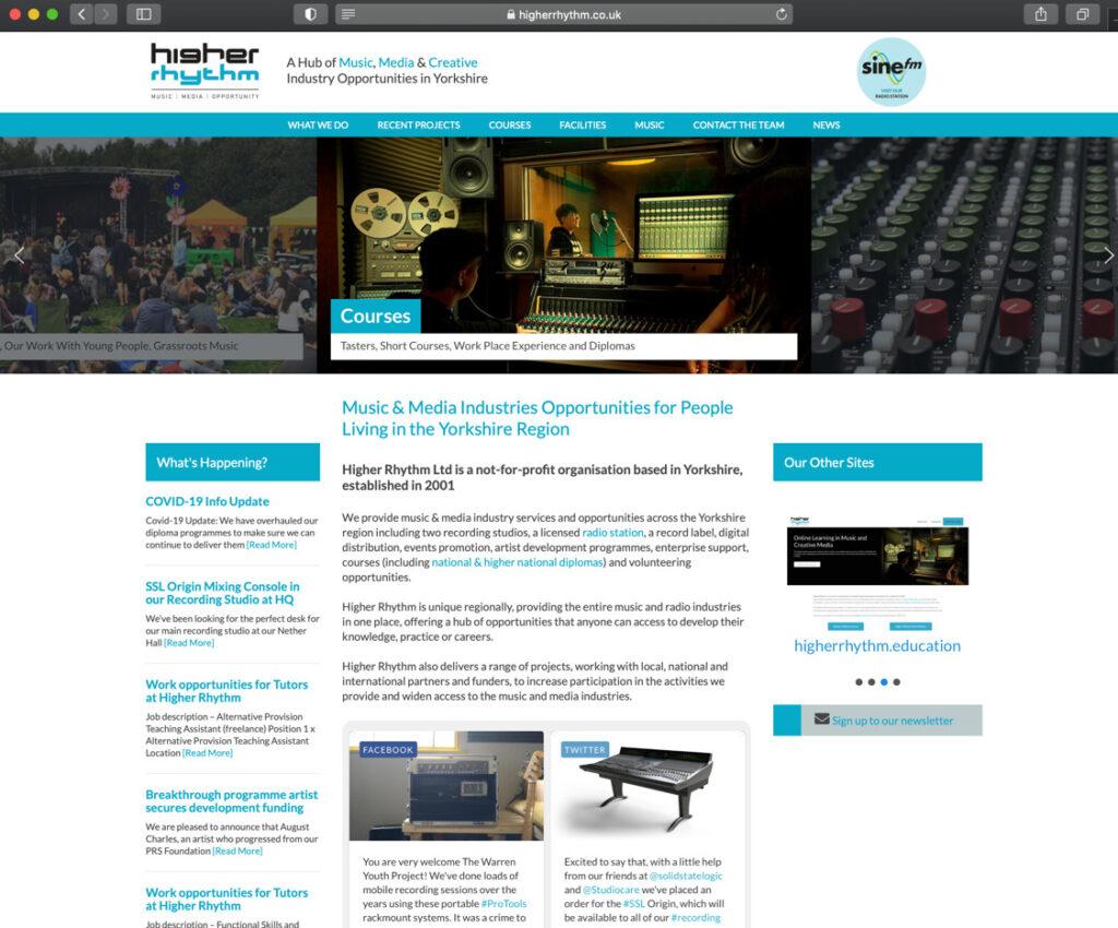 Screenshot of Higher Rhythm website