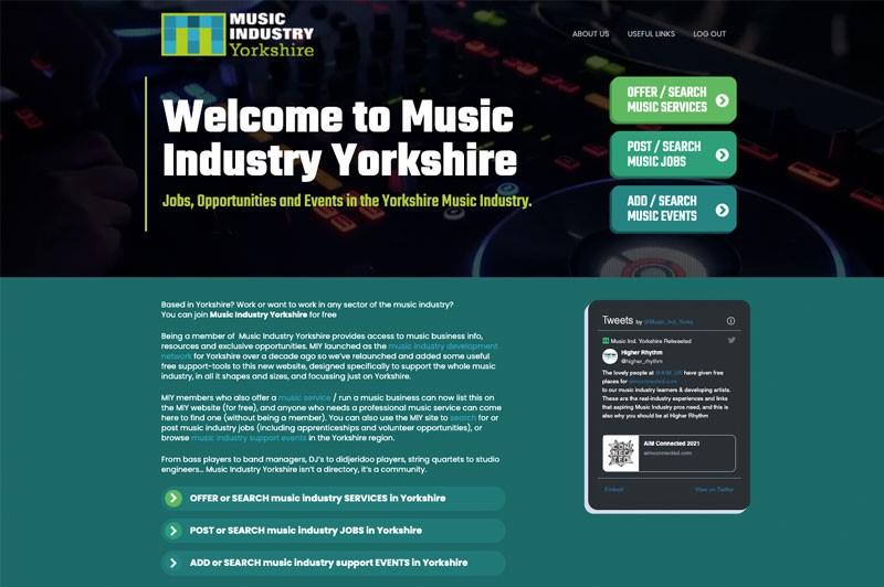 Screenshot of Music Industry Yorkshire website