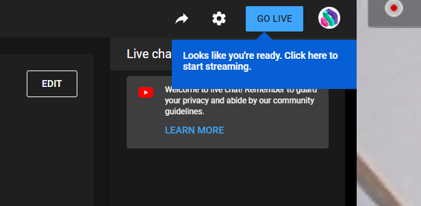 A screenshot showing the YouTube Go Live button