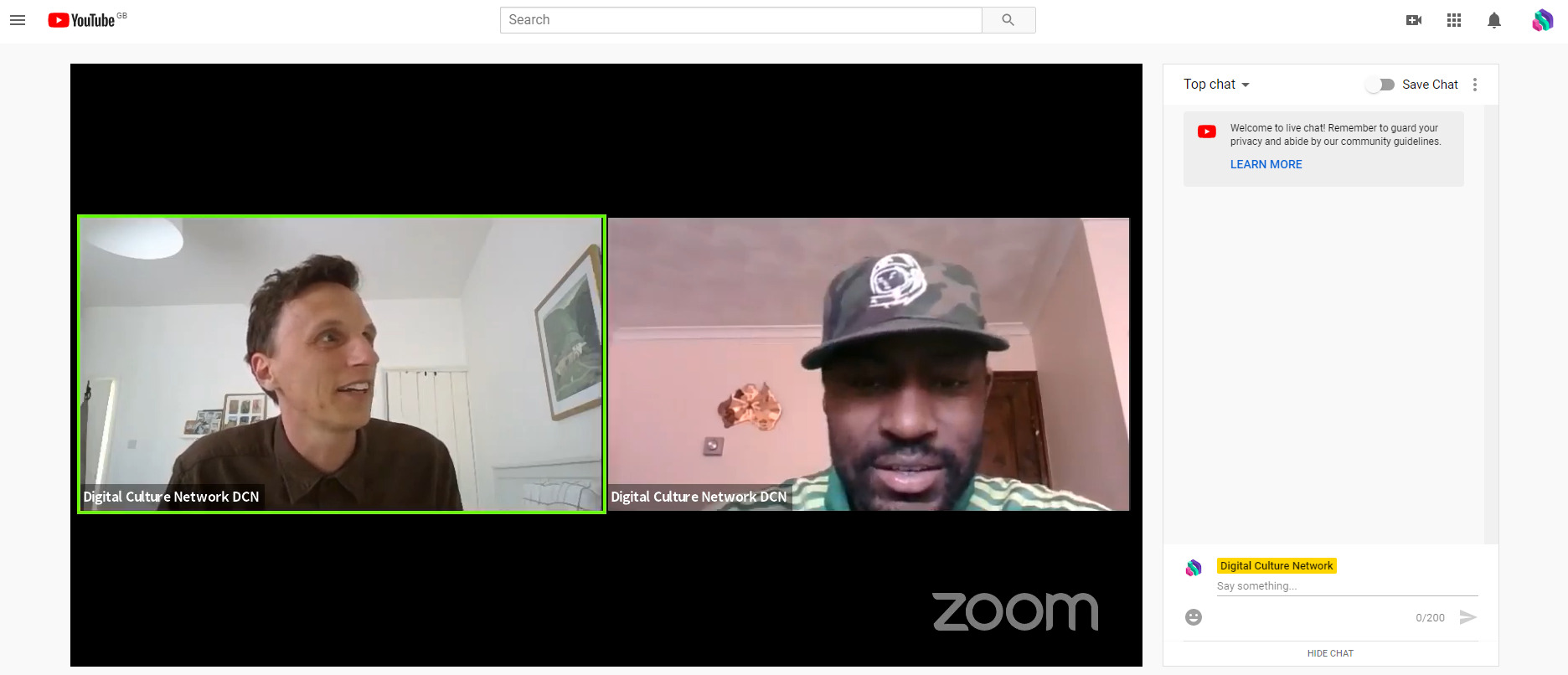 A screenshot showing a live stream being broadcast on YouTube. The live stream is being pulled from Zoom and features 2 young men connecting from different devices.
