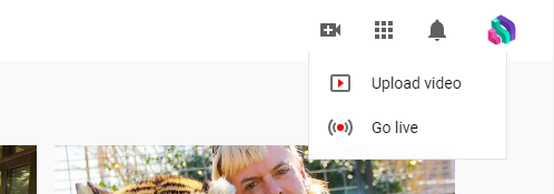 A screenshot showing the Go Live button on YouTube