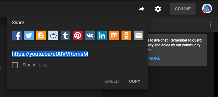 A screenshot showing how to copy a shareable link for a YouTube stream