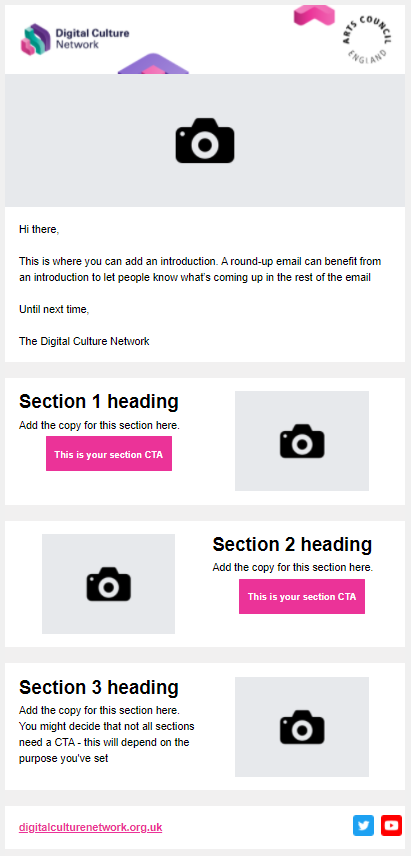 Screenshot of email template